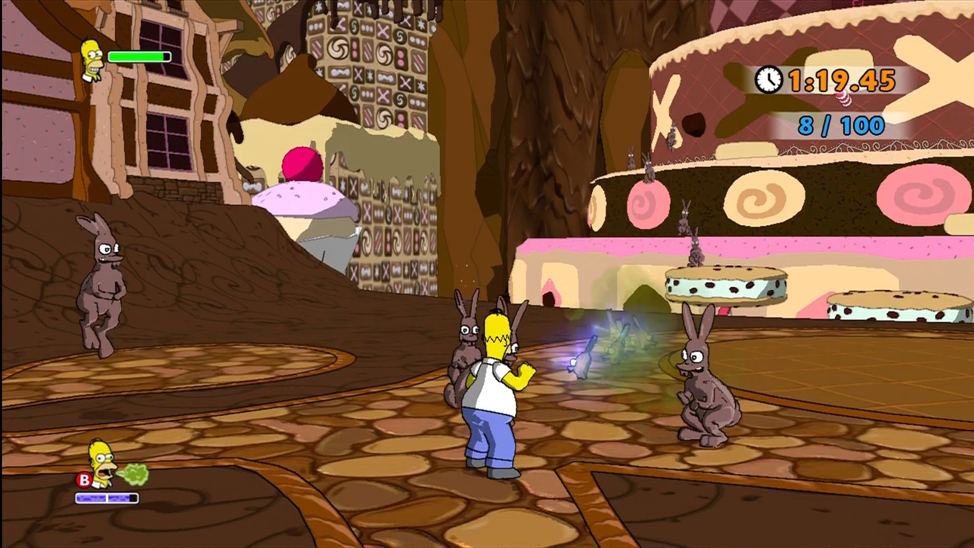 The Simpsons Game Xbox 360 Homer dreams of chocolate bunnies.