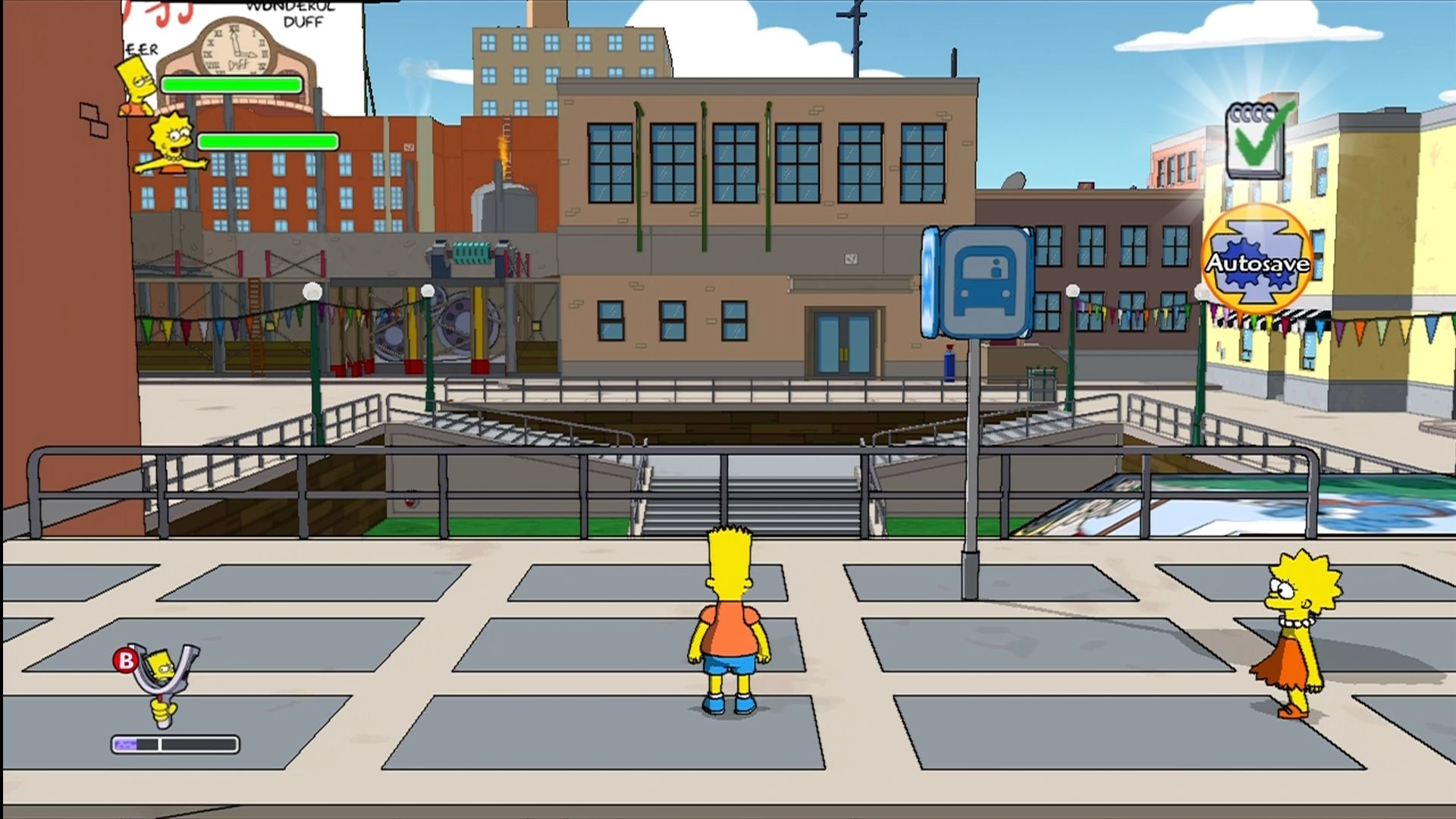 The Simpsons Game Xbox 360 Use bus stops to quickly get around the Springfield overworld.