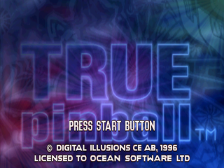 True Pinball PlayStation Start screen