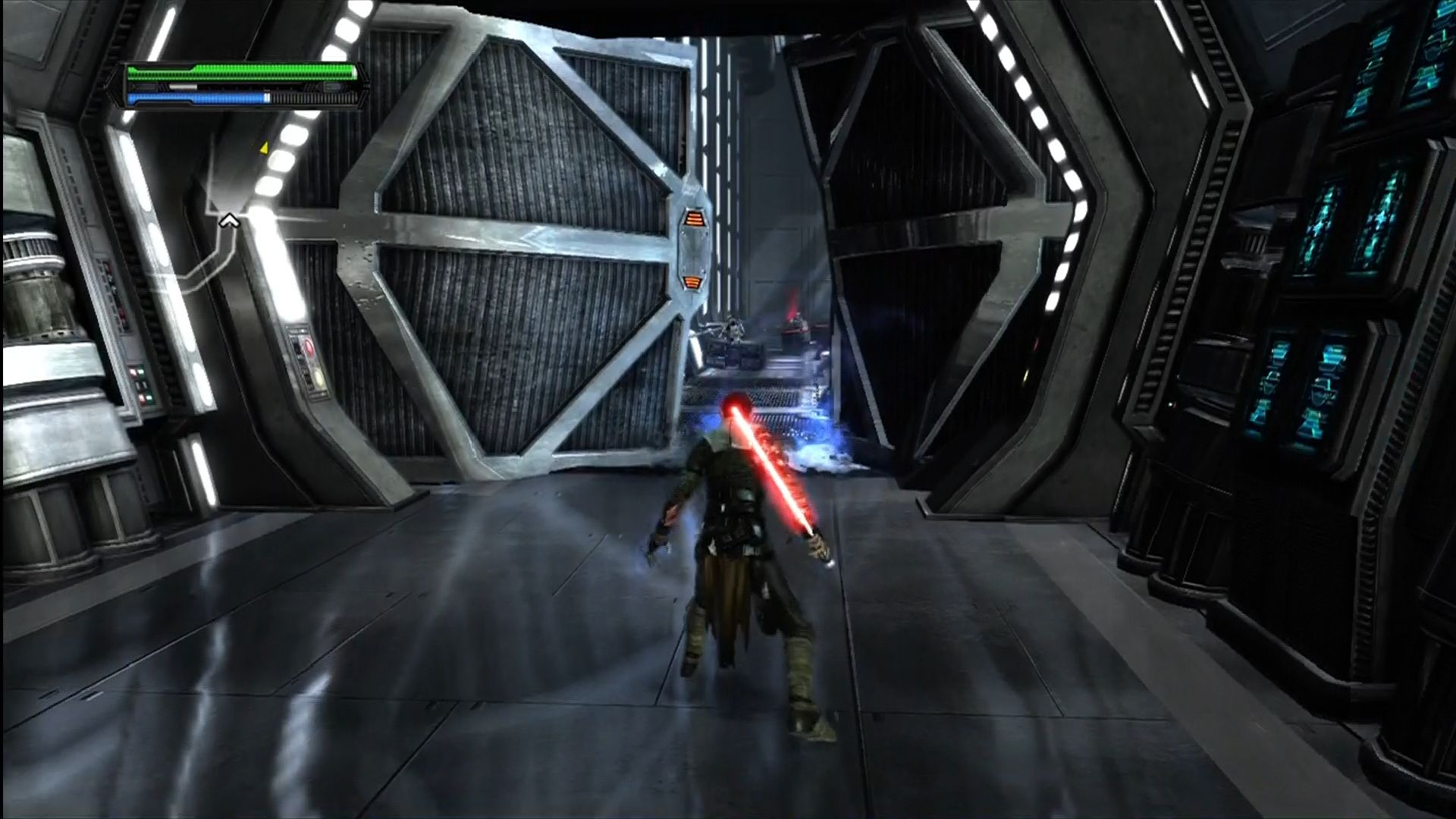 Star Wars: The Force Unleashed Xbox 360 Using the Force to blast open these doors.