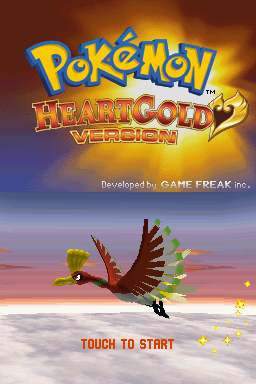 Pokémon HeartGold Version Nintendo DS Title screen.