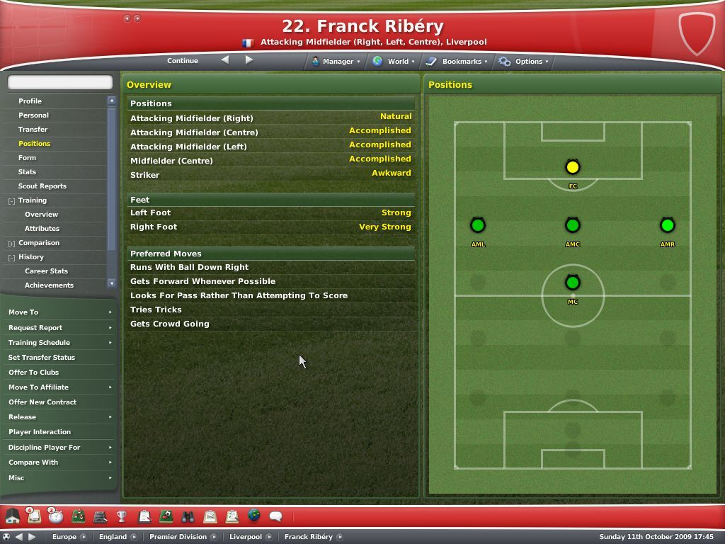 Worldwide Soccer Manager 2007 Windows A player's preferred tricks and positions, useful for playing against him too
