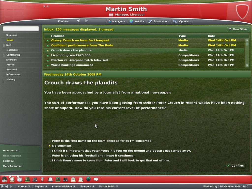 Worldwide Soccer Manager 2007 Windows Media interaction