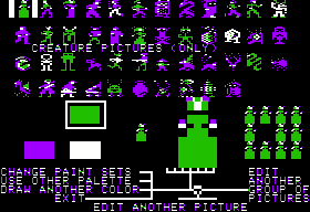 Stuart Smith's Adventure Construction Set Apple II Graphic Editor - Editing characters from Sci-Fi Set