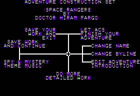 Stuart Smith's Adventure Construction Set Apple II Main edit menu.