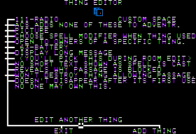 Stuart Smith's Adventure Construction Set Apple II Thing editor.