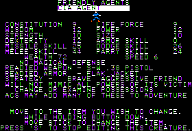 Stuart Smith's Adventure Construction Set Apple II Character editor.