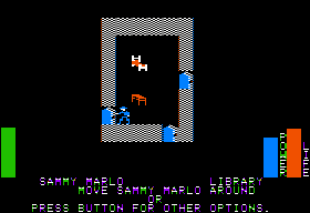 Stuart Smith's Adventure Construction Set Apple II In-game play - in a room.