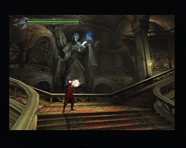 Devil May Cry PlayStation 2 Dante using his famour dual guns, the only firearm you start with.