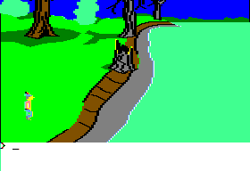 King's Quest II: Romancing the Throne Apple II Near a lake with posinous water.