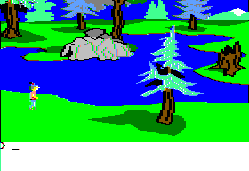 King's Quest II: Romancing the Throne Apple II Water nearby.