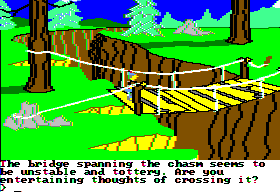 King's Quest II: Romancing the Throne Apple II Crossing the bridge.