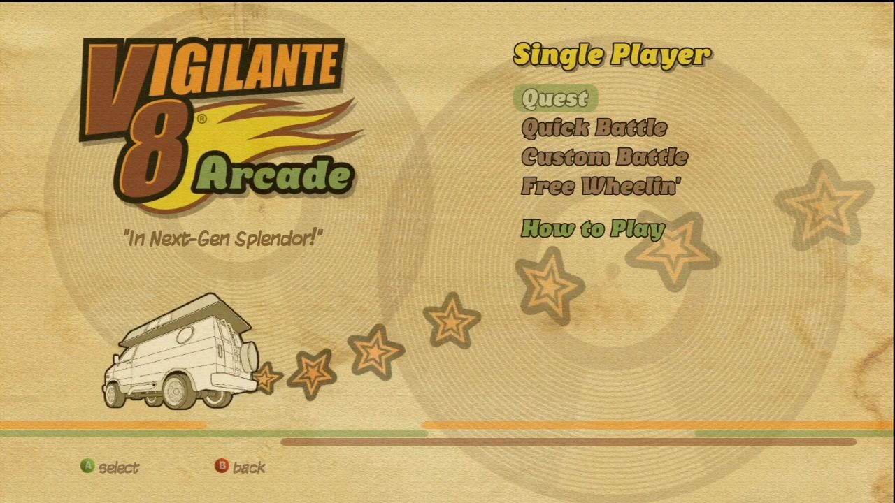 Vigilante 8: Arcade Xbox 360 Single-player menu.