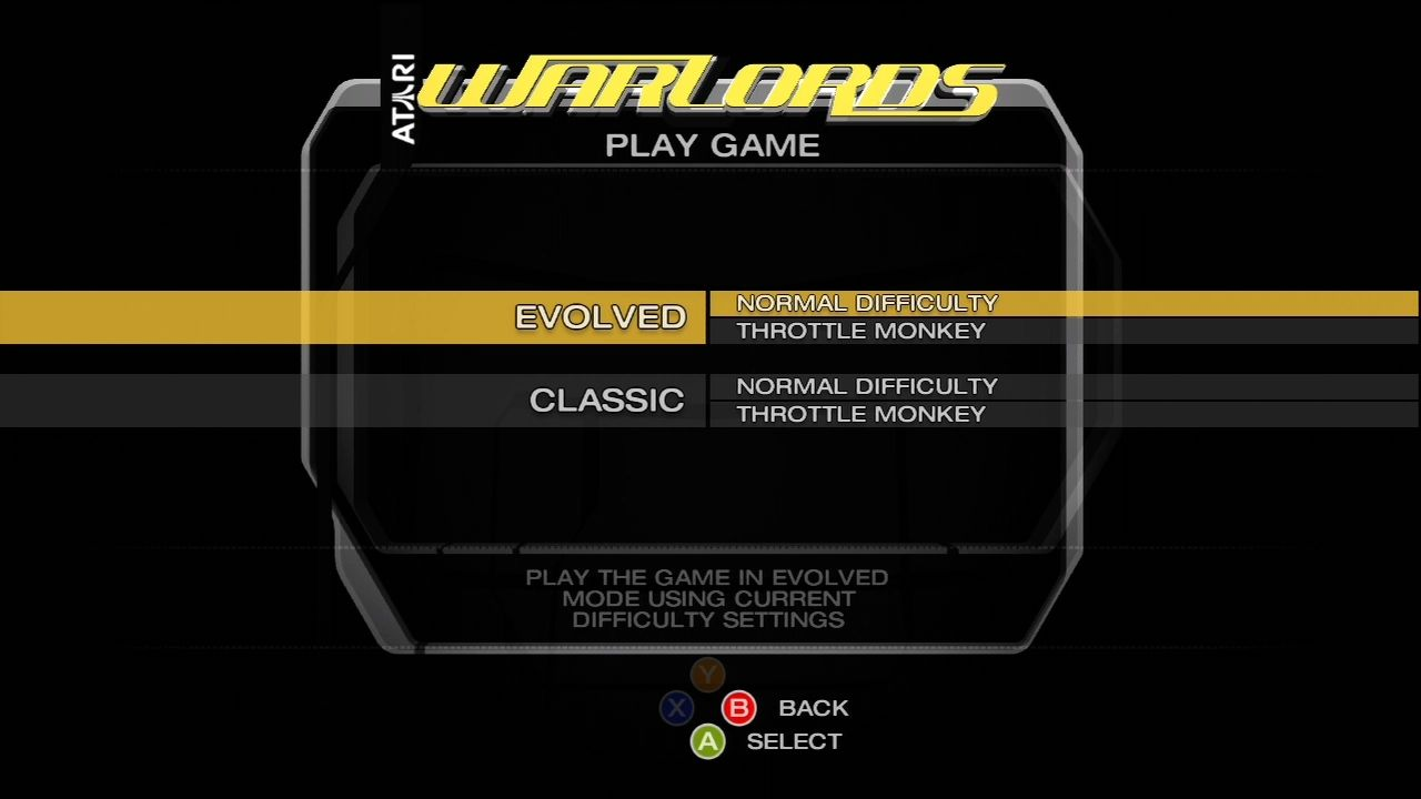 "Warlords Xbox 360 Two modes - ""classic"" and ""evolved"""