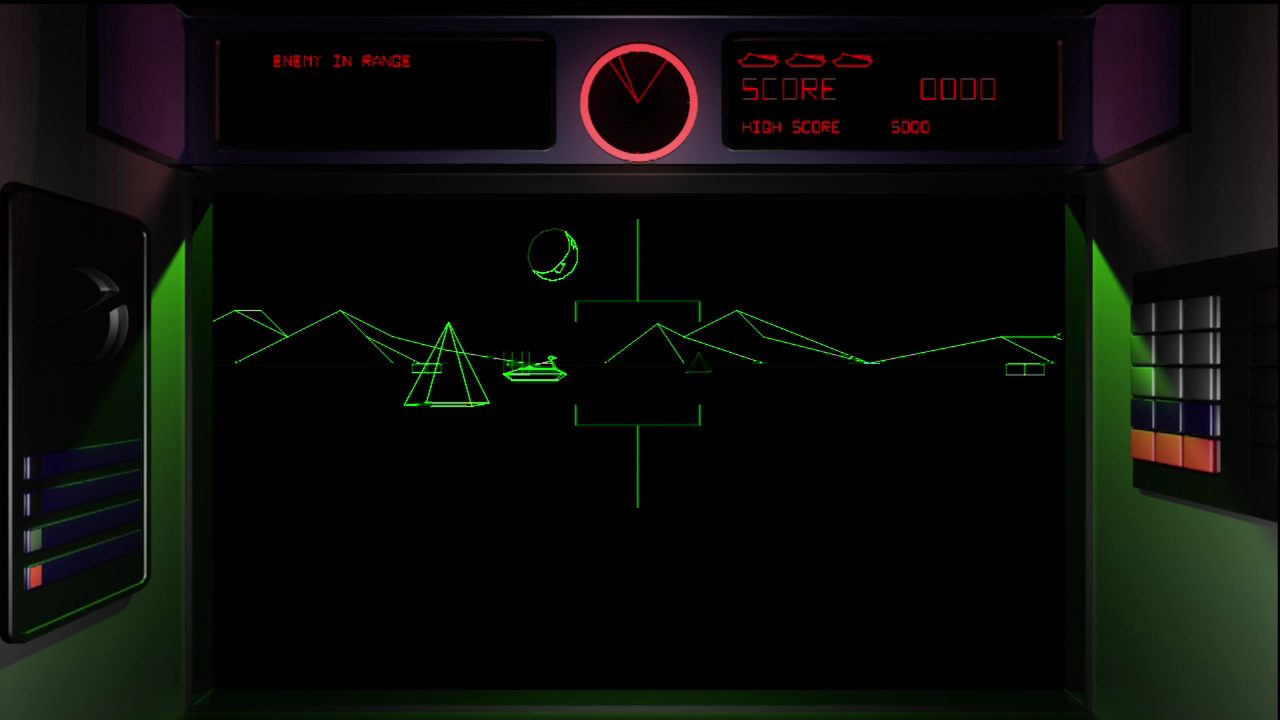 Battlezone Xbox 360 Original mode with vector-style graphics.