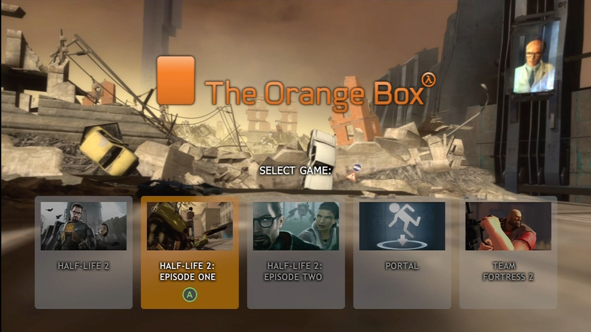 The Orange Box Xbox 360 Main game select menu