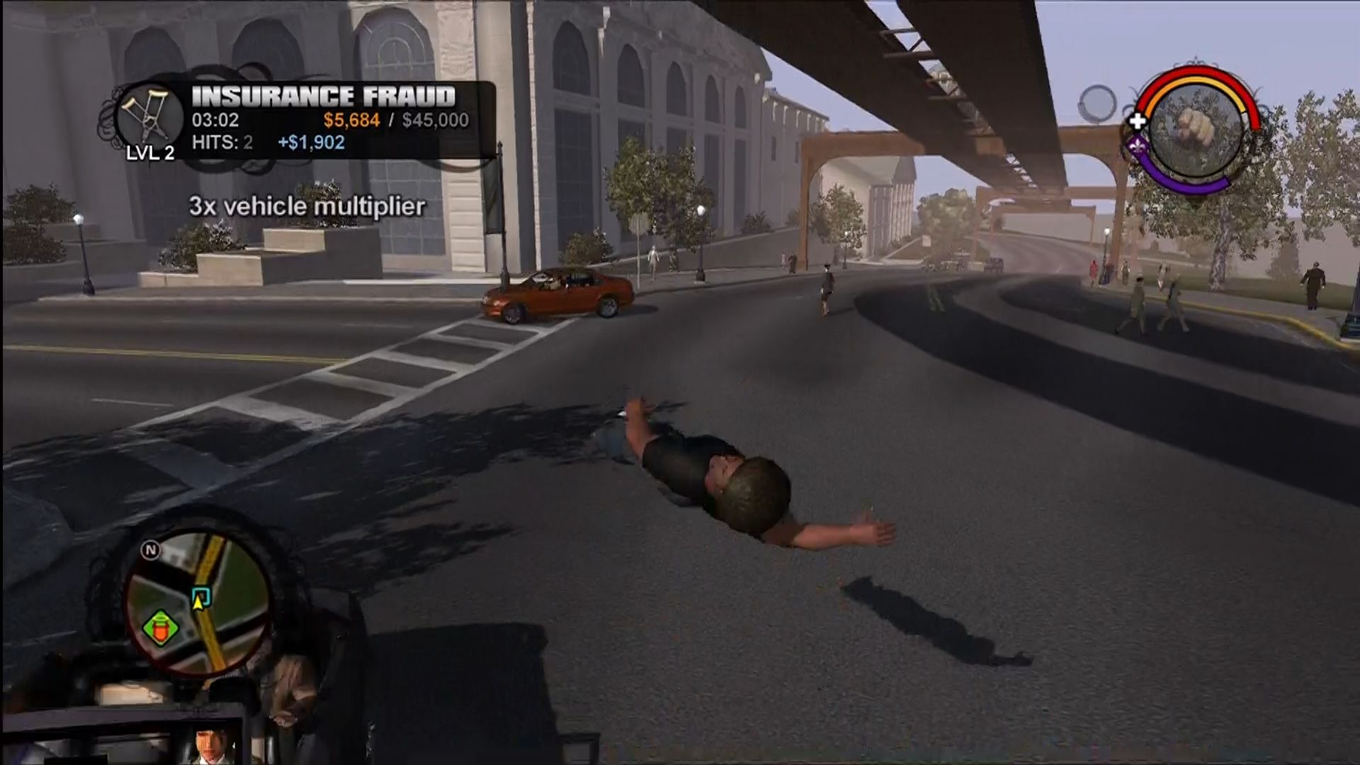 Saints Row Xbox 360 Throw yourself in front of cars in the Insurance Fraud activity.