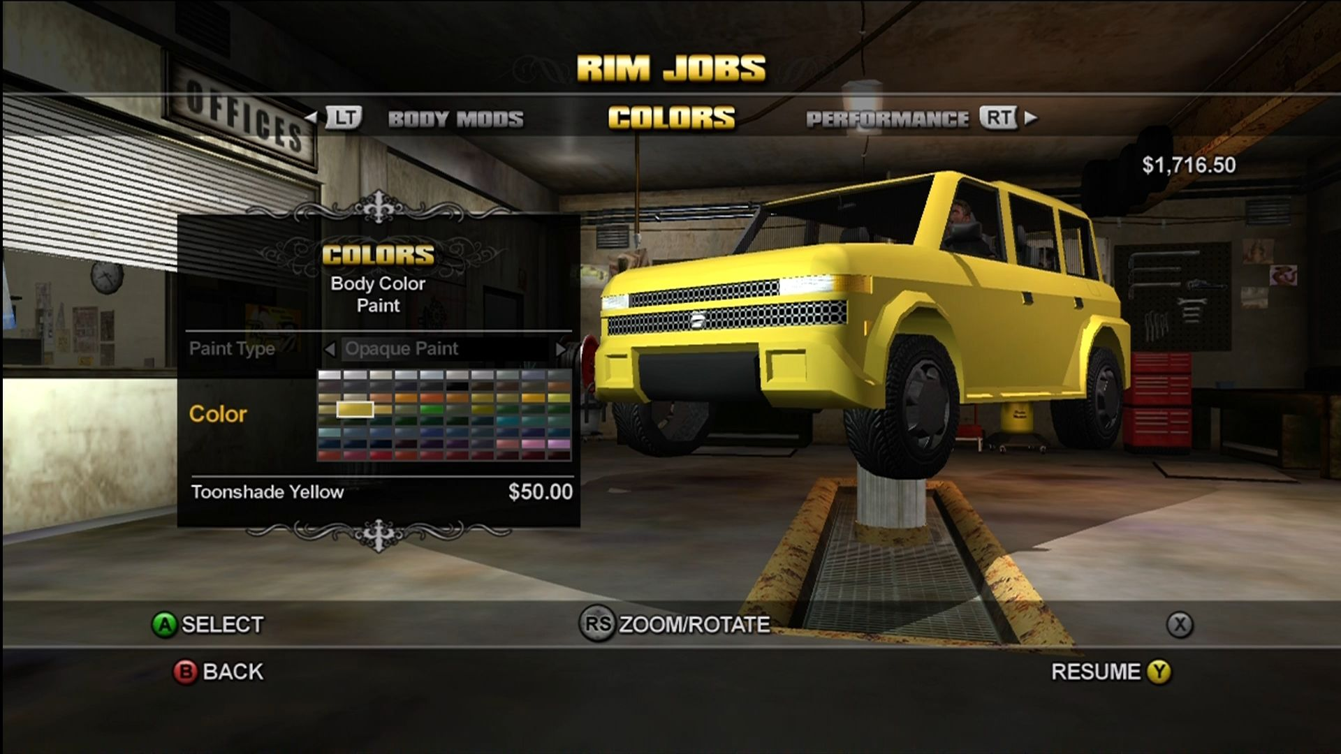 Saints Row Xbox 360 Tune and mod cars for respect.