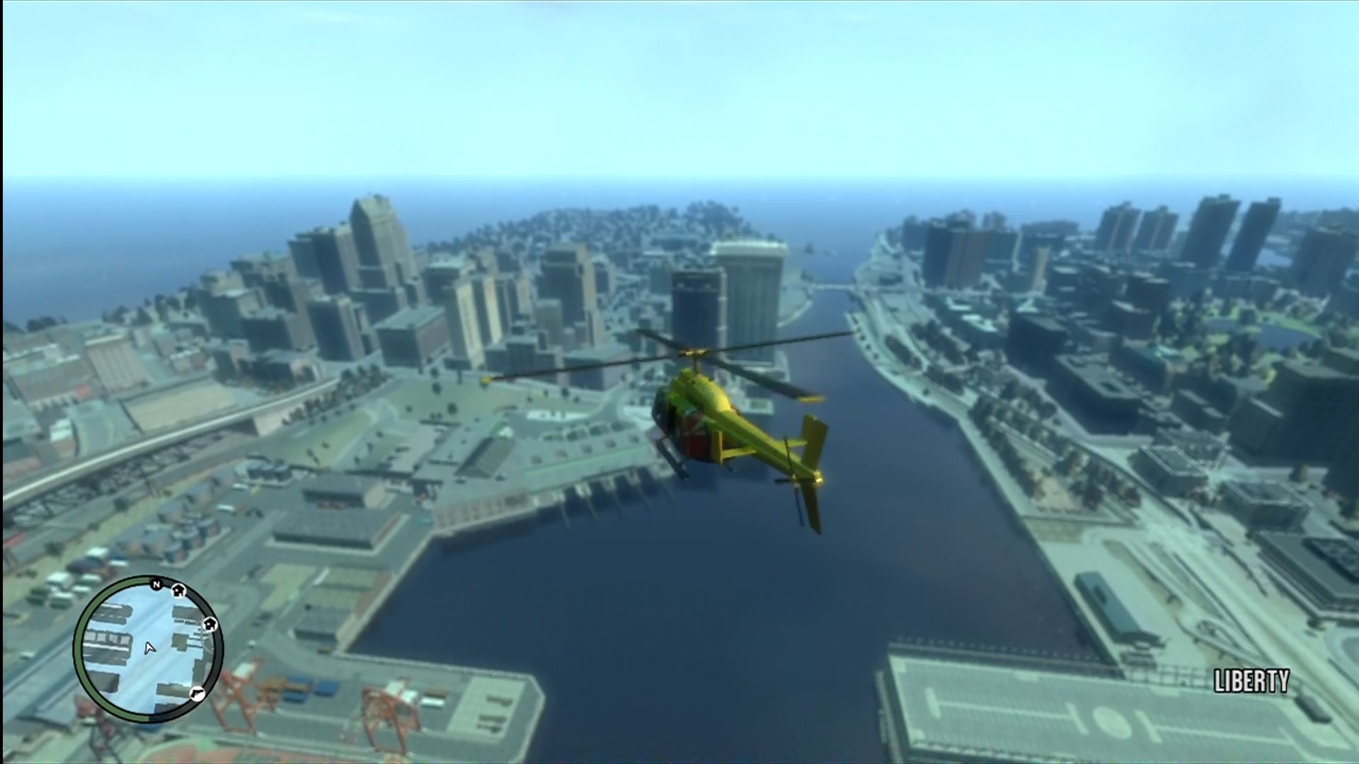Grand Theft Auto IV Xbox 360 Flying over two of the three islands.