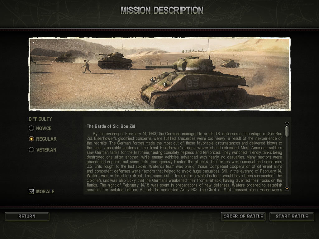 Theatre of War 2: Africa 1943 Windows Mission briefing (demo version)