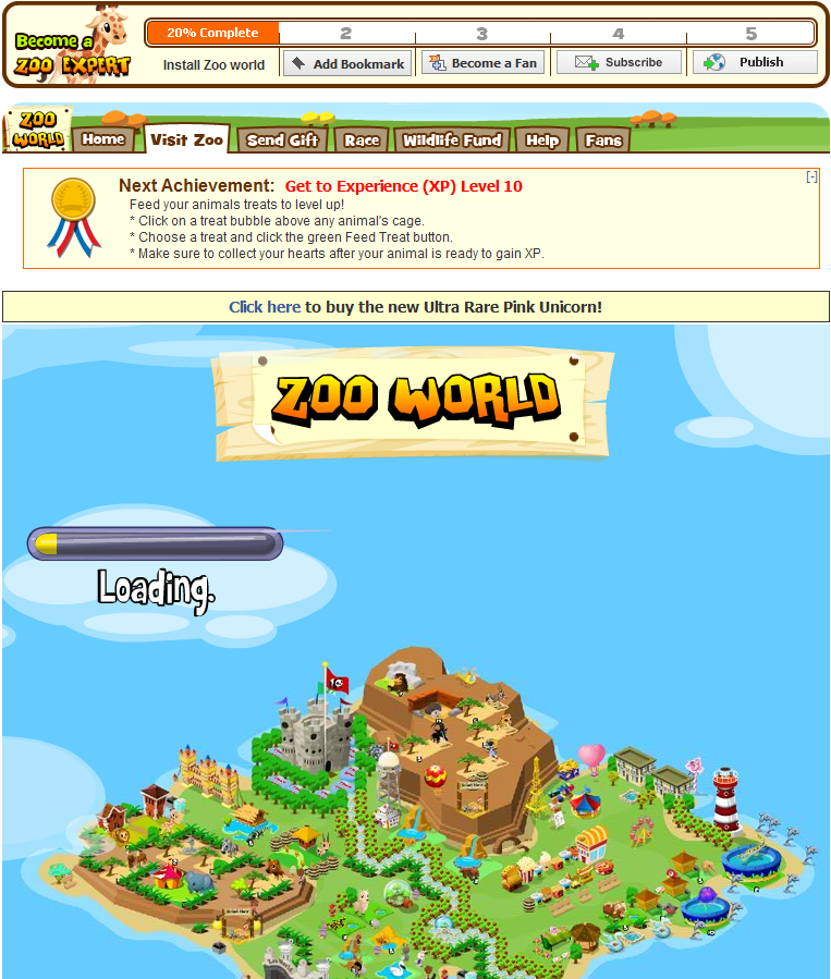 Zoo World Browser Everytime you go to the Zoo screen the game has to reload anew because parts of the game are in Flash and others in JavaScript