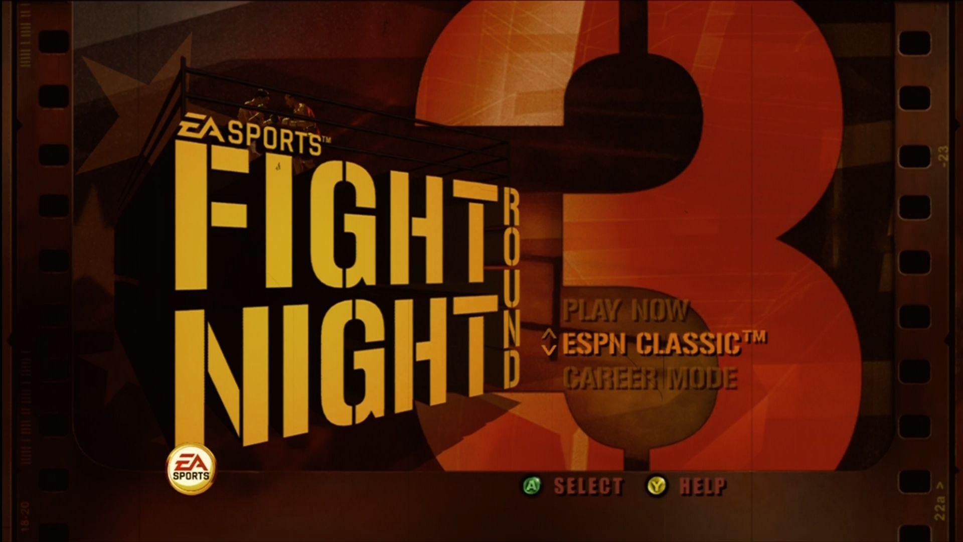 Fight Night Round 3 Xbox 360 Title screen.