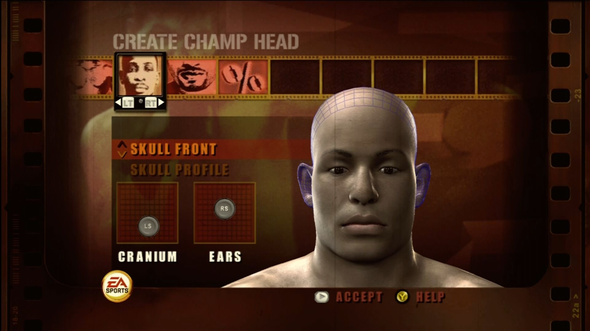 Fight Night Round 3 Xbox 360 Wide range of facial and structural options.