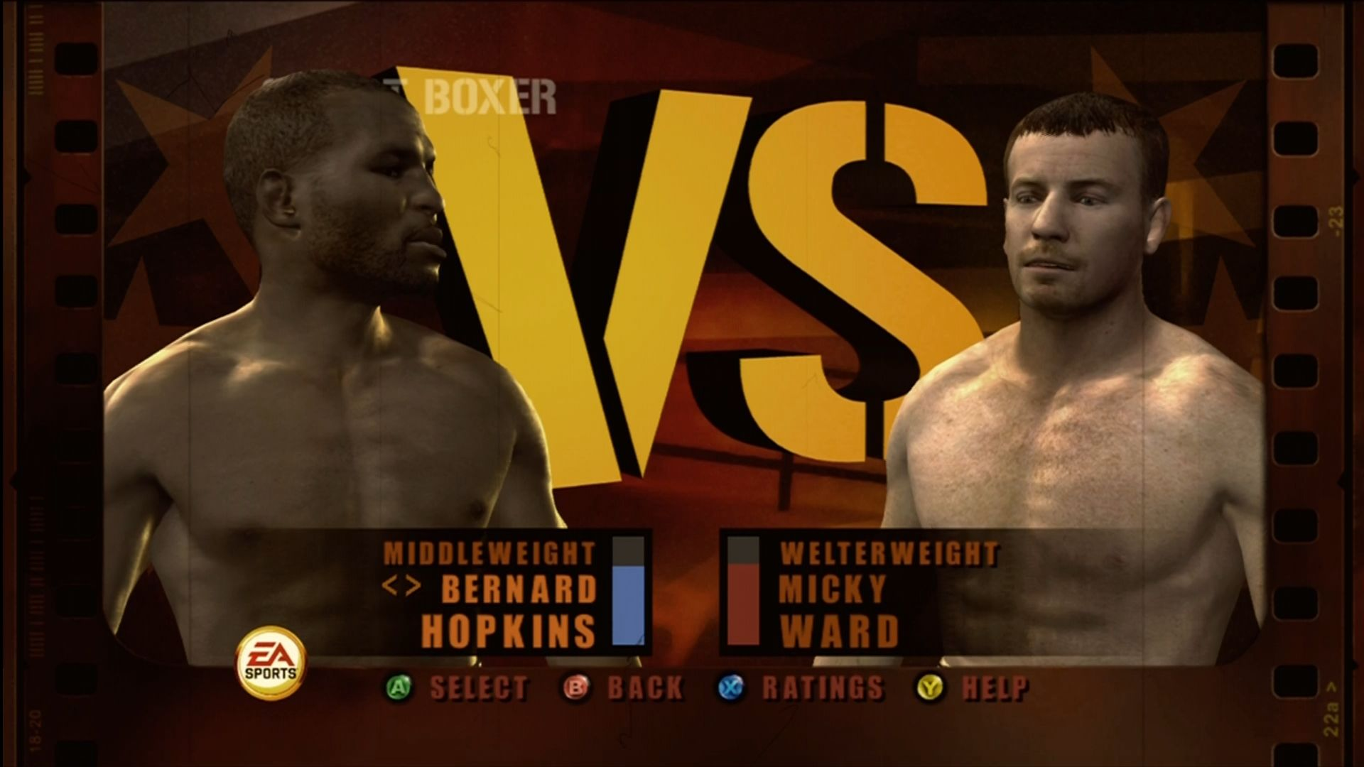 Fight Night Round 3 Xbox 360 Picking your boxer and opponent in Fight Now mode.