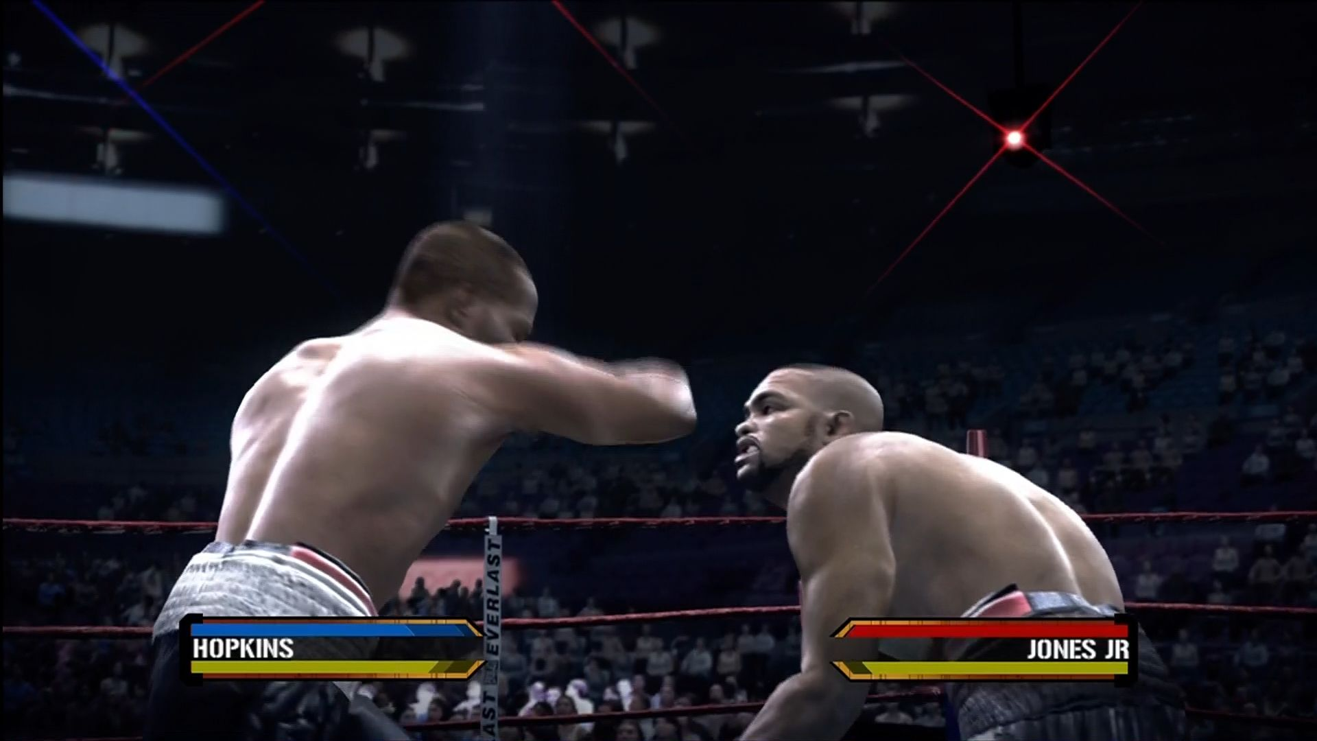 Fight Night Round 3 Xbox 360 Optional HUD toggled on.
