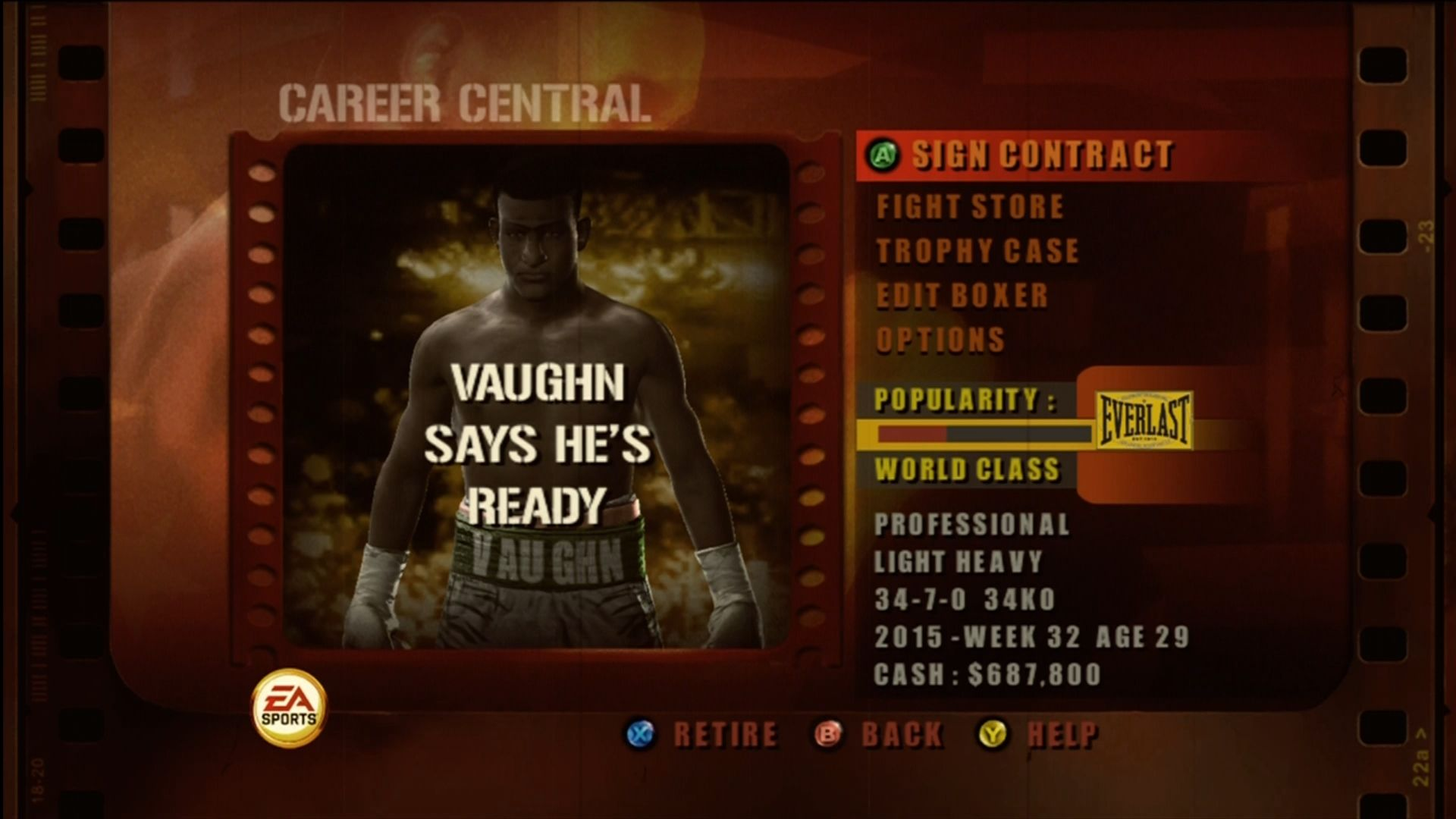 Fight Night Round 3 Xbox 360 Main menu for career mode.