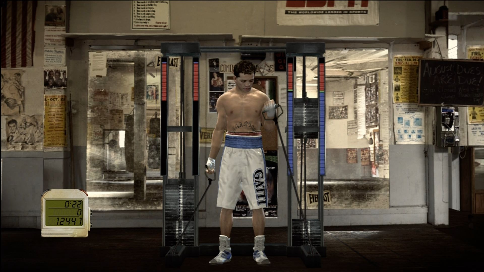 Fight Night Round 3 Xbox 360 Weights training minigame.