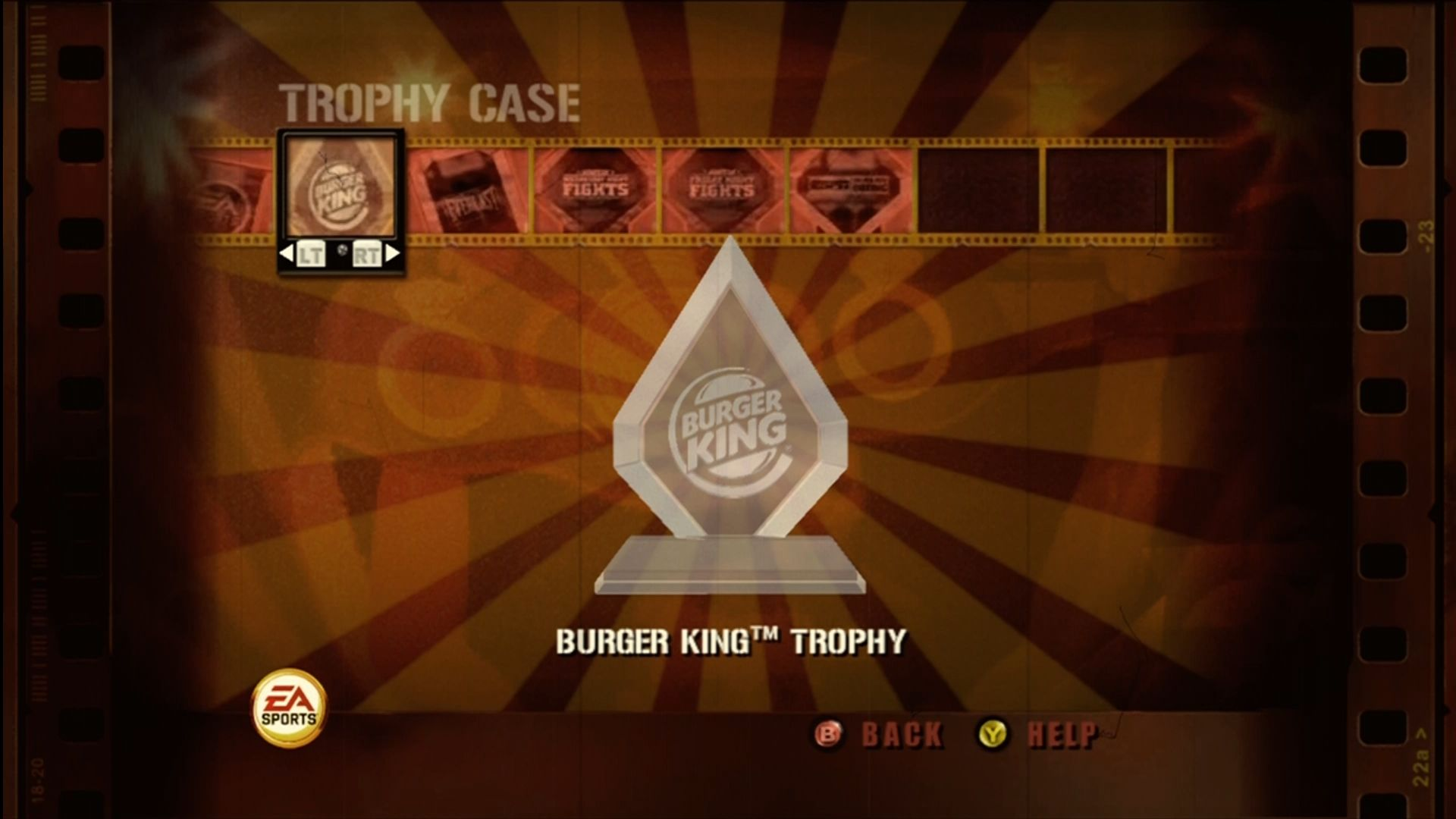 Fight Night Round 3 Xbox 360 Some of the titles you can win. Haven't you always wanted the Burger King boxing trophy?