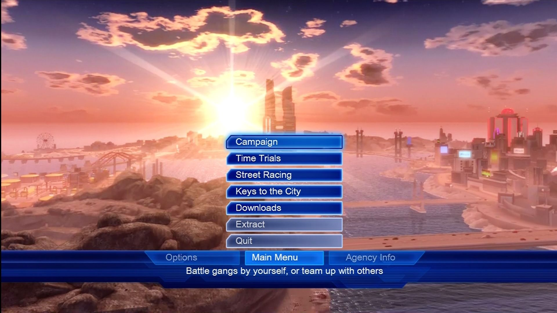 Crackdown Xbox 360 Main menu.