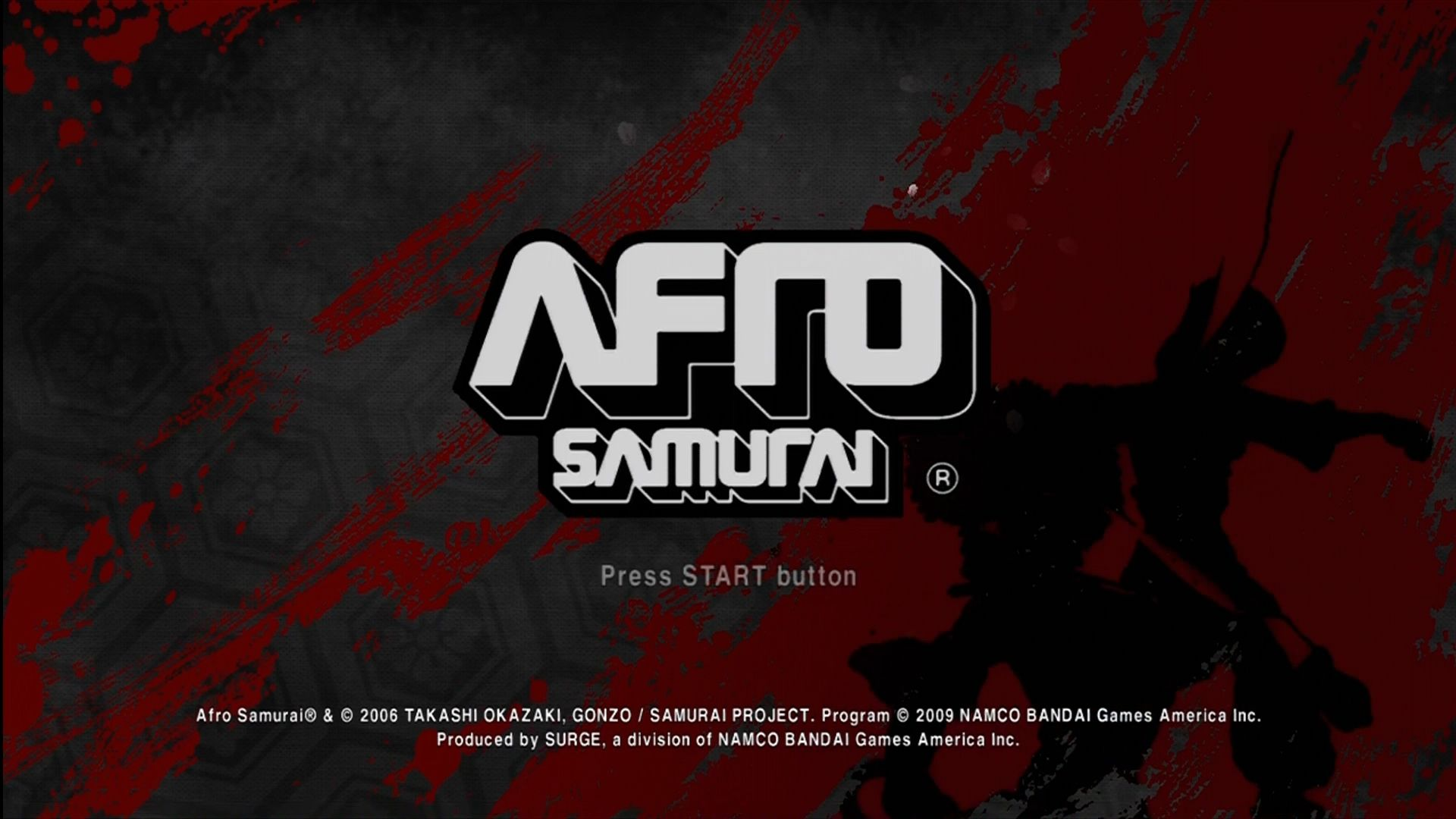 Afro Samurai Xbox 360 Title screen.