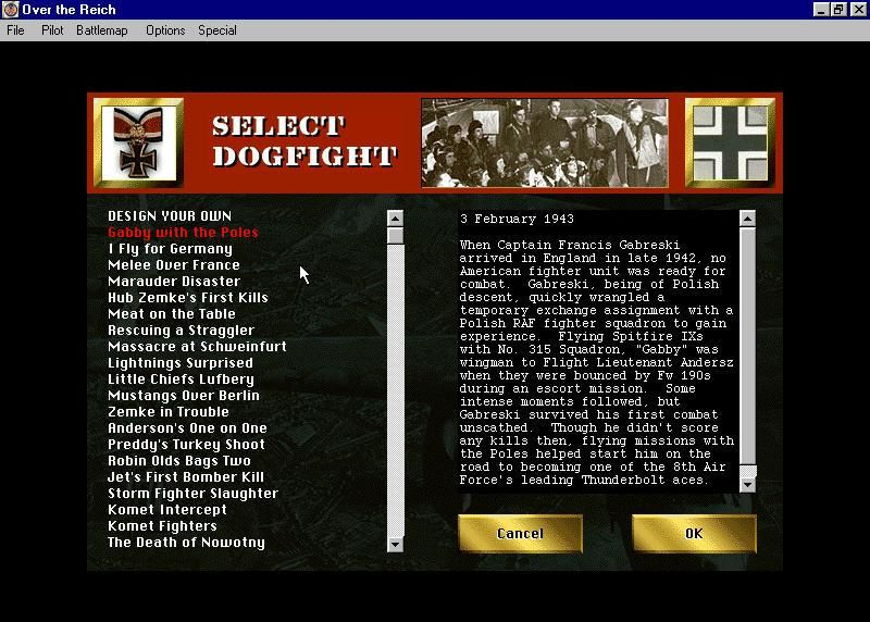 Over the Reich Windows Many scenarios of each flight type to select from