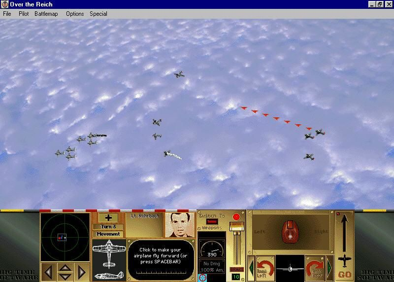 Over the Reich Windows The bomber gunners have hit one of our pilots planes he is smoking white trail