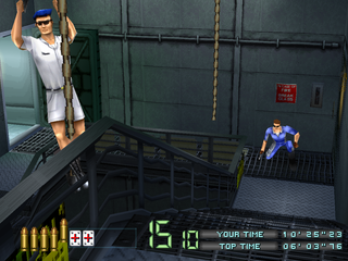 Time Crisis: Project Titan PlayStation Enemies climbing down from ropes.