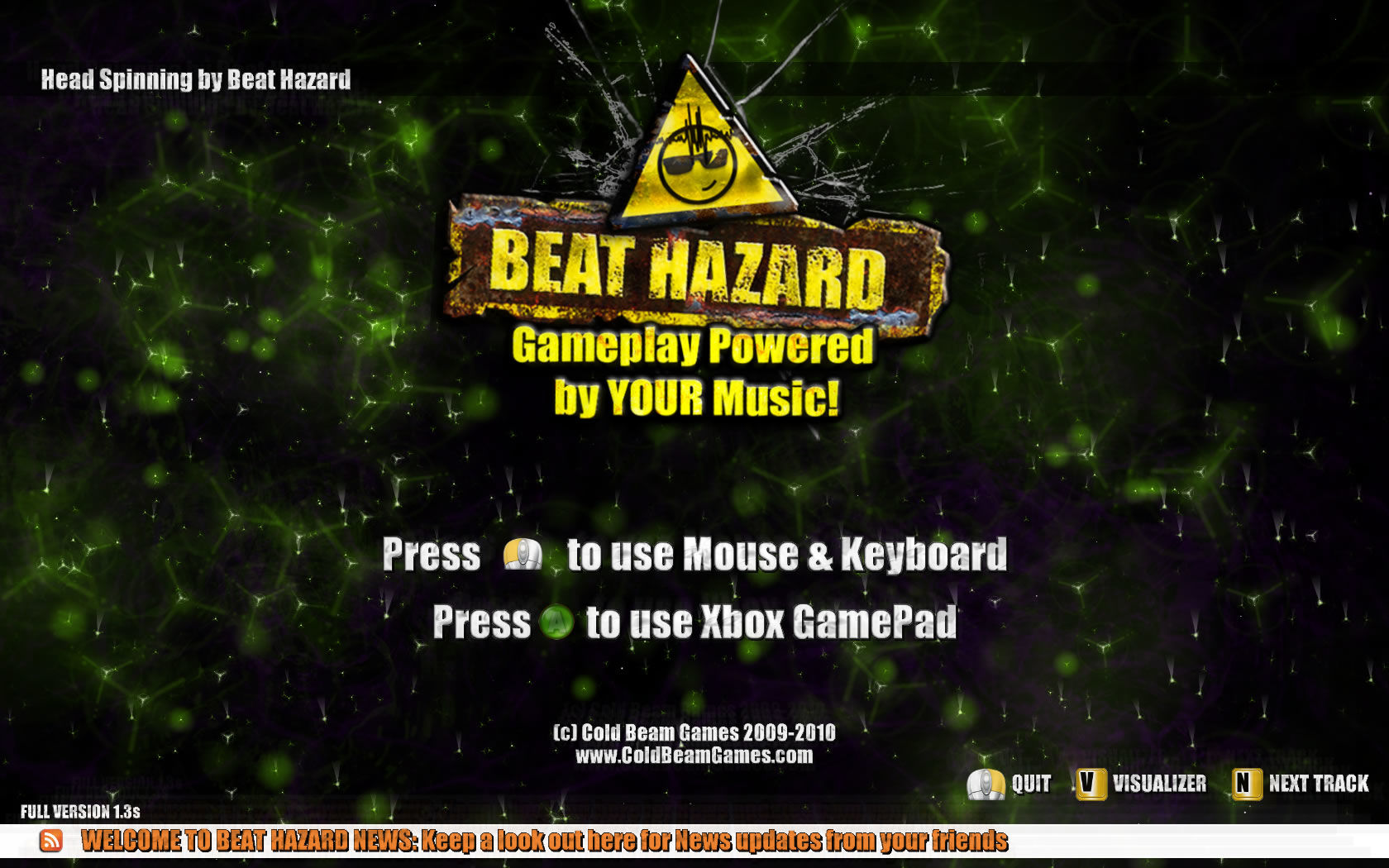 Beat Hazard Windows Opening screen