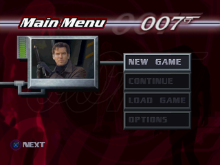 007: Tomorrow Never Dies PlayStation Main menu