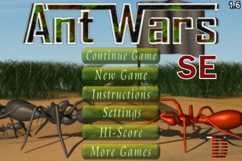 Ant Wars SE iPhone Main Menu