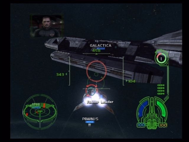 Battlestar Galactica Xbox Defending the Galactica from Raiders.