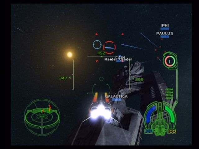 Battlestar Galactica Xbox Using the guns. The smaller crosshair shows where to shoot.