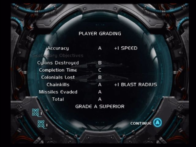 Battlestar Galactica Xbox End of level grading screen.