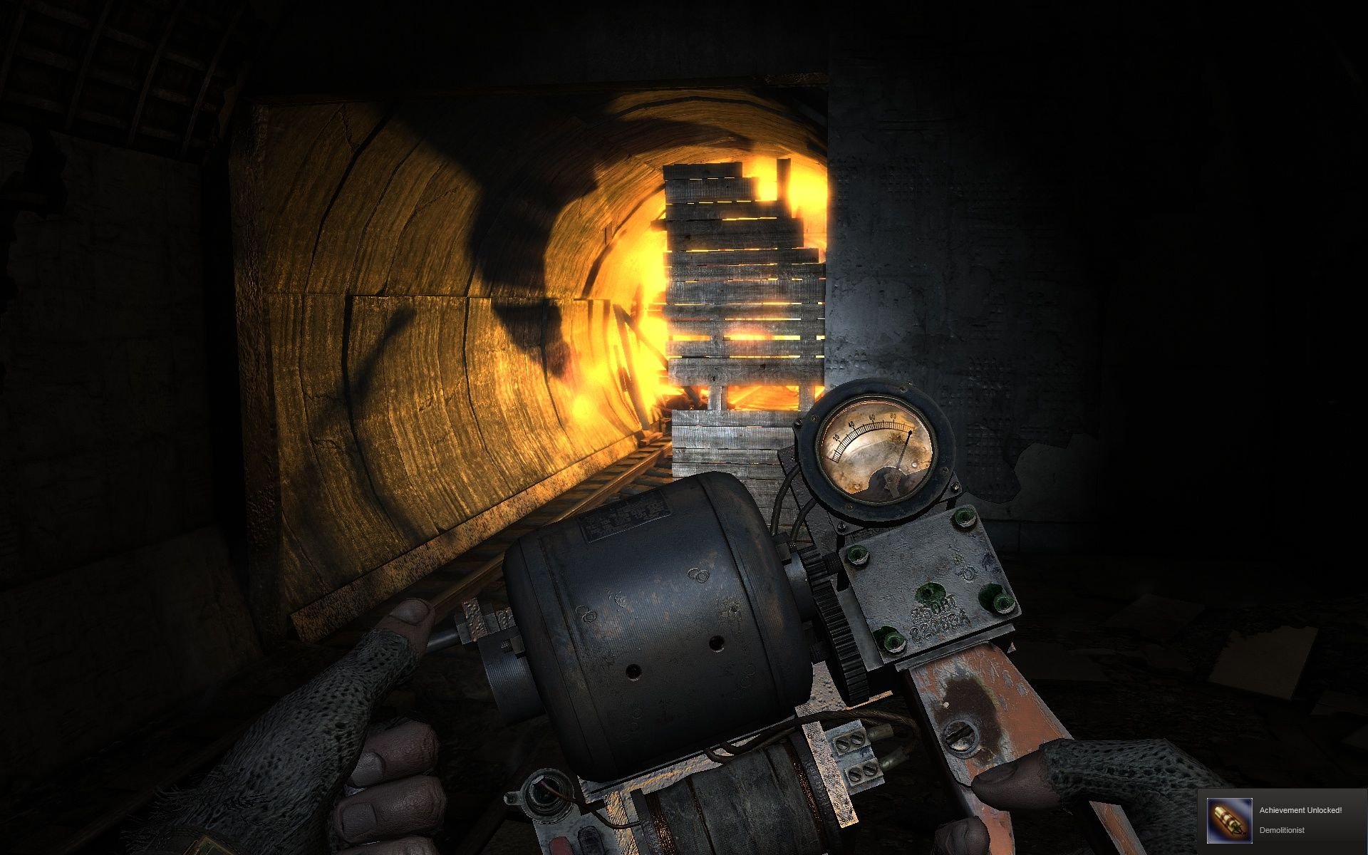 Metro 2033 Windows If your flashlight gets darker and darker, you've to use this turbine to pump it up again.