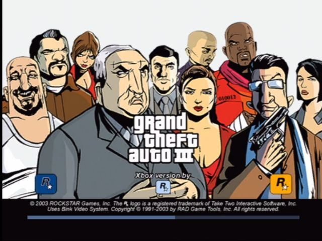Rockstar Games Double Pack: Grand Theft Auto Xbox GTA 3 loading screen.