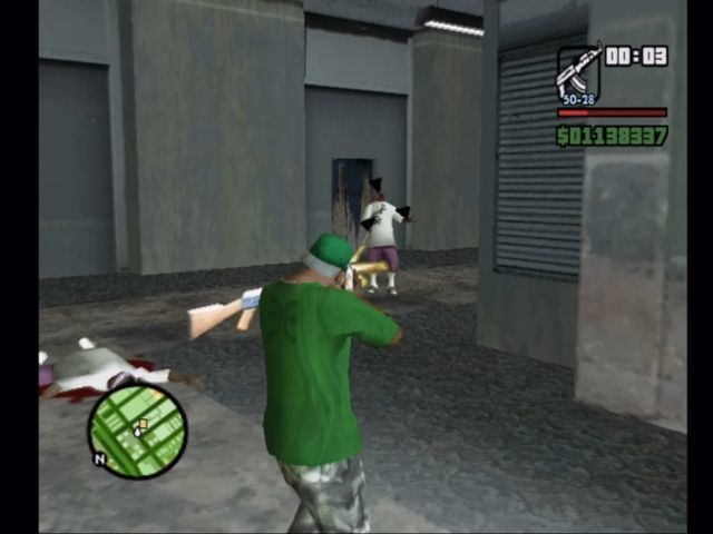 Grand Theft Auto: San Andreas Xbox Gunning down hoods with ma AK.