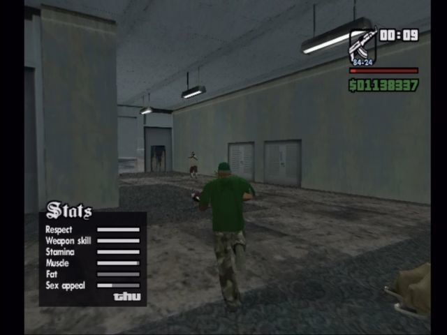 Grand Theft Auto: San Andreas Xbox C.J.'s stats shift based on actions performed.