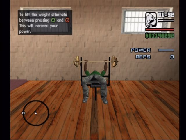 Grand Theft Auto: San Andreas Xbox Hit the gym and play a minigame to bulk up.