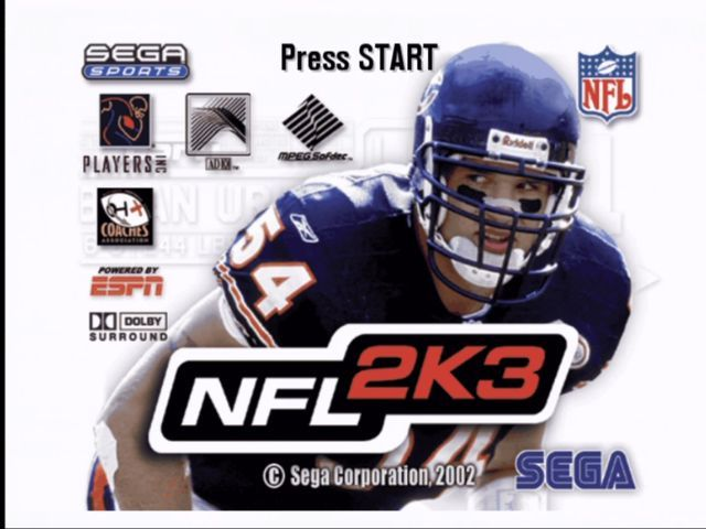 NFL 2K3 Xbox Title screen.
