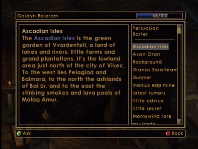 The Elder Scrolls III: Morrowind Xbox Speaking to characters using unlocked or overheard topics.